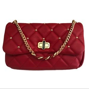 New Badgley Mischka Vegan Leather Red Quilted Bag